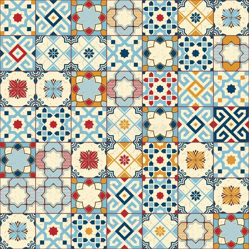 华美的无缝的样式白色五颜六色的摩洛哥,葡萄牙瓦片, Azulejo,装饰品 能为墙纸使用 向量例证