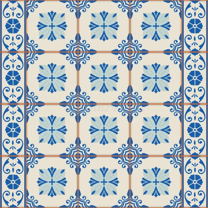 华美的无缝的样式白色土耳其,摩洛哥,葡萄牙瓦片, Azulejo,装饰品 向量例证