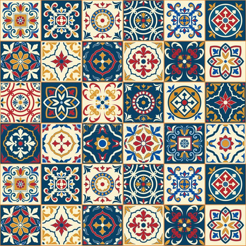 华美的无缝的样式 摩洛哥,葡萄牙瓦片, Azulejo,装饰品 库存例证