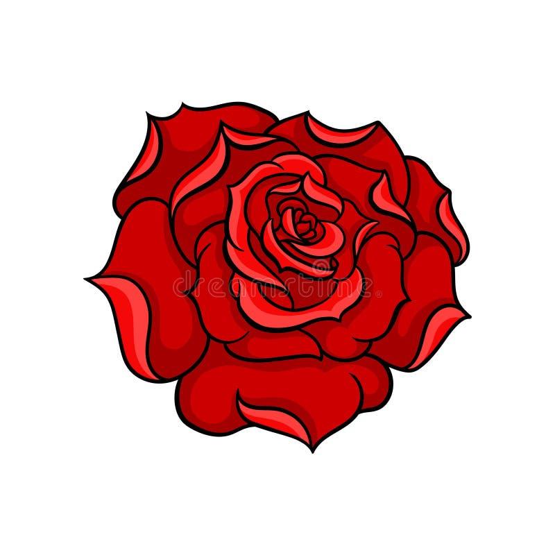 华美的明亮的红色玫瑰传染媒介象  庭院花的芽 纹身花刺艺术品 本质主题 贴纸的, T恤杉设计 皇族释放例证