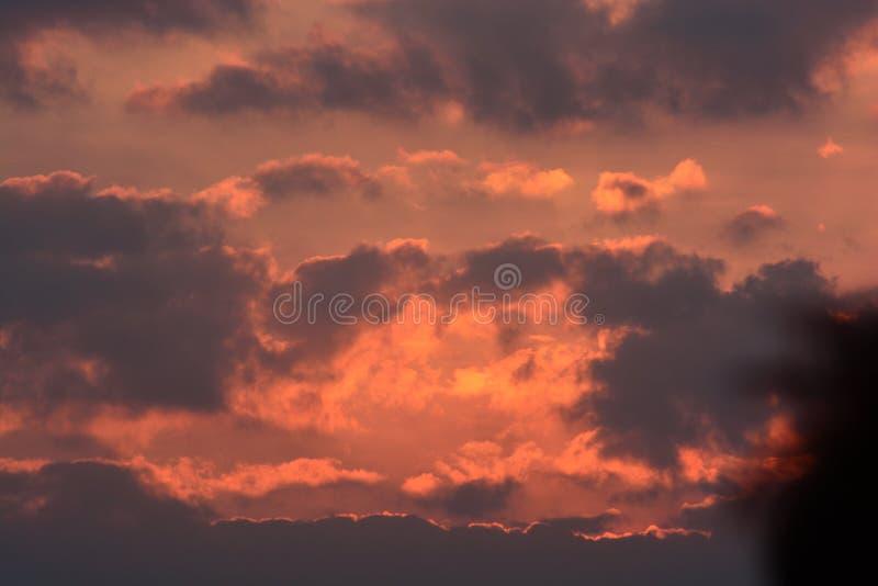华美的暮色天空和云彩在早晨背景图象 免版税库存照片