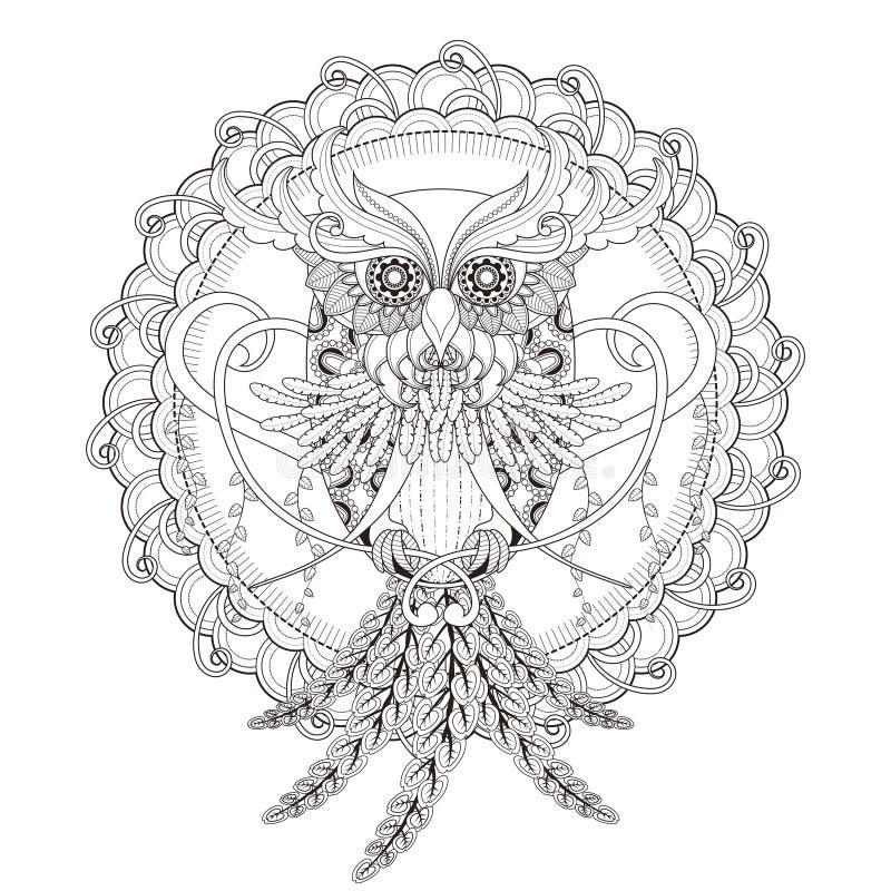 华美的猫头鹰着色页 皇族释放例证