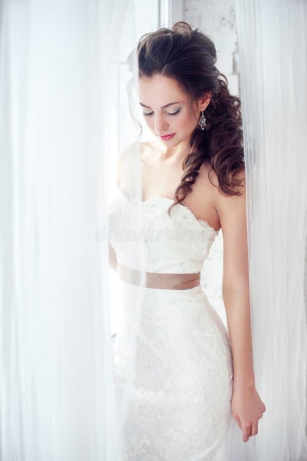 华美的秀丽年轻新娘画象 免版税图库摄影