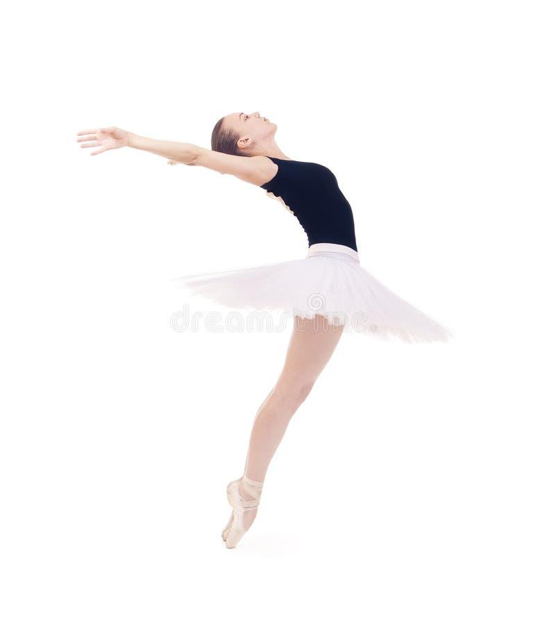 华美的芭蕾舞女演员,白色芭蕾舞短裙跳舞的芭蕾的 图库摄影