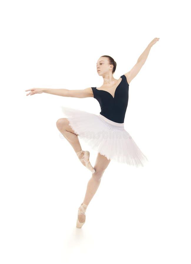 华美的芭蕾舞女演员,白色芭蕾舞短裙跳舞的芭蕾的 库存照片