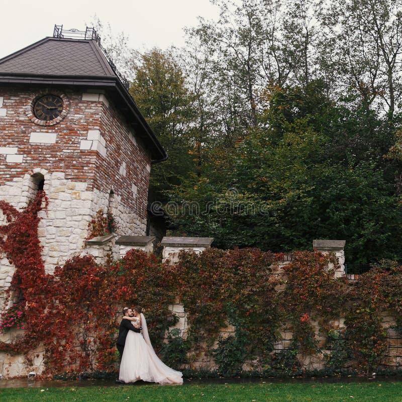 华美的轻轻地拥抱和微笑在的新娘和时髦的新郎 免版税库存图片