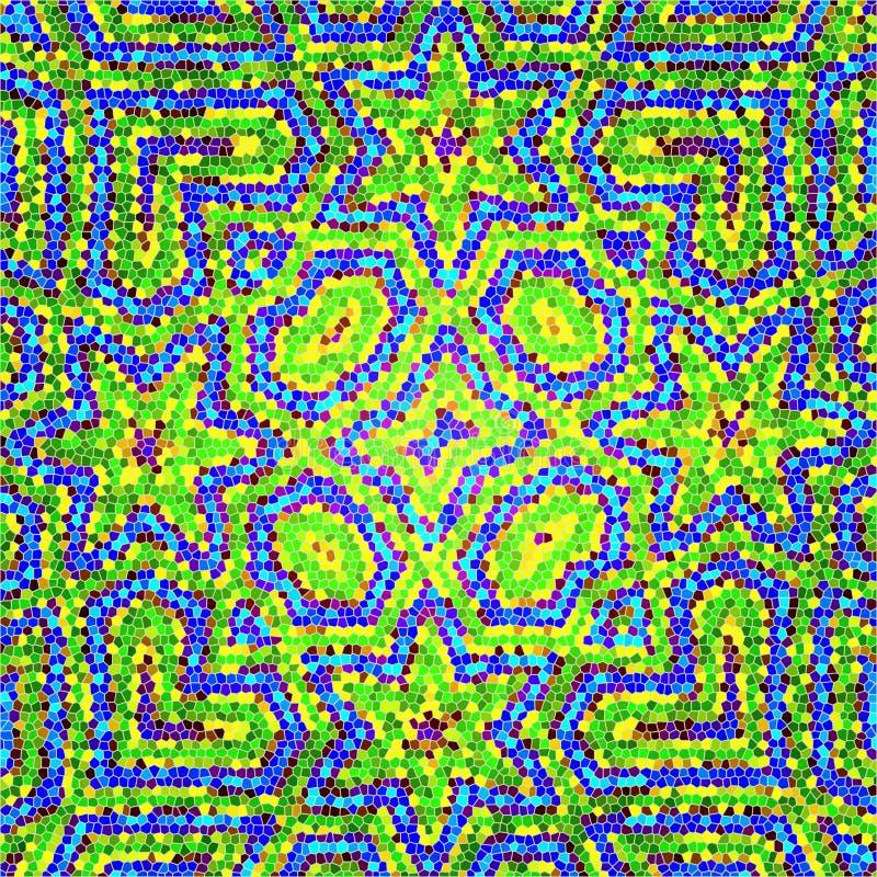 华美的马赛克补缀品样式摩洛哥人,葡萄牙五颜六色的瓦片 向量例证
