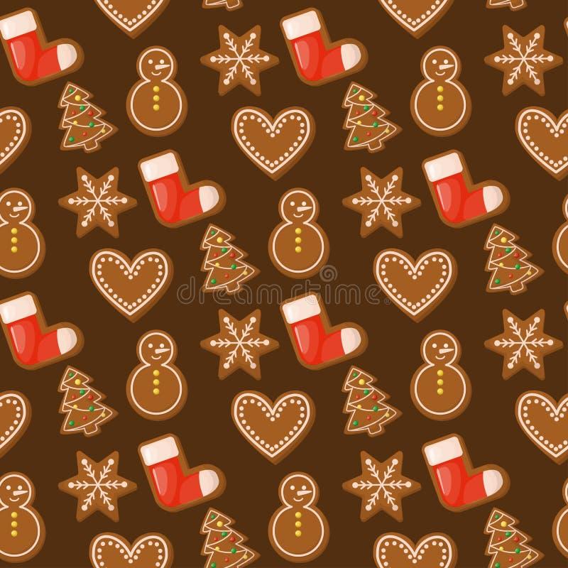 华而不实的屋圣诞节无缝的样式甜传统假日食物糖果点心曲奇饼传染媒介例证 皇族释放例证