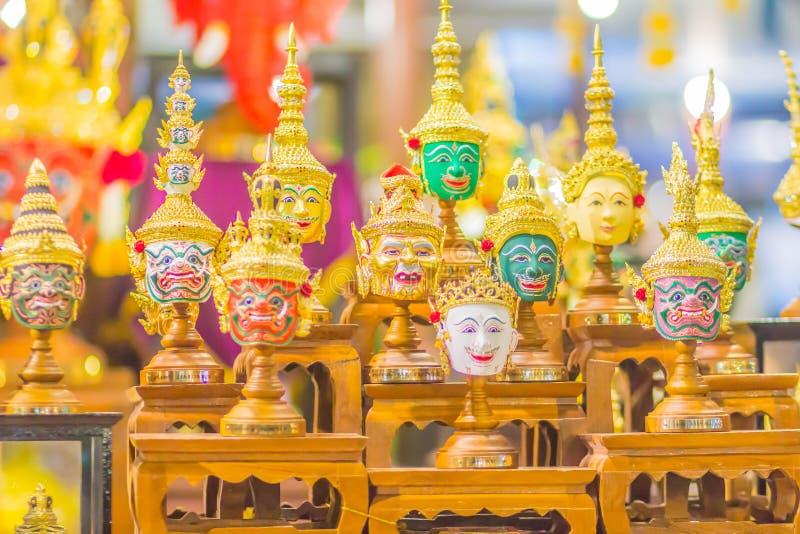 华Khon,跳舞的表现的泰国传统面具美好的艺术面具  Khon是Ram的泰国传统舞蹈 库存照片