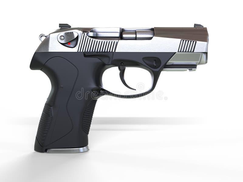 协定半自动手枪-侧视图 免版税图库摄影