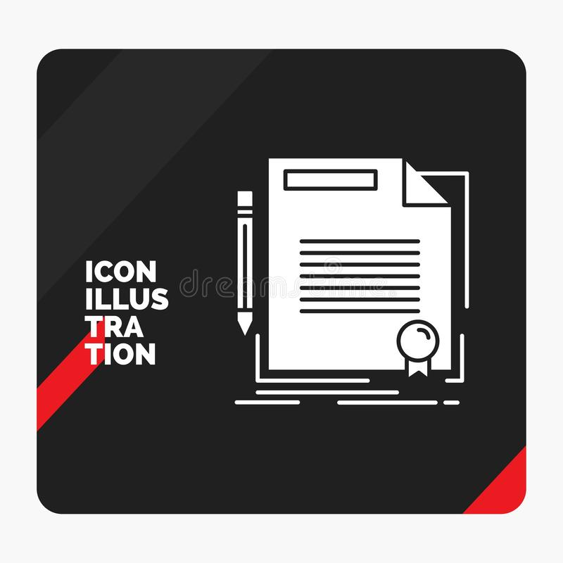 协议的,合同,成交,文件,纸纵的沟纹象红色和黑创造性的介绍背景 库存例证