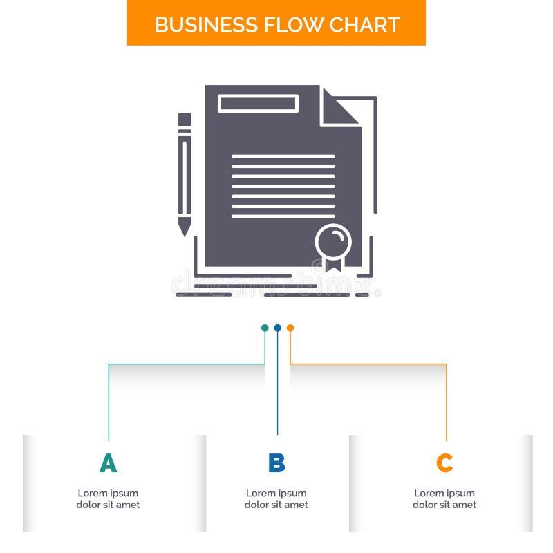 协议,合同,成交,文件,纸企业与3步的流程图设计 r 皇族释放例证