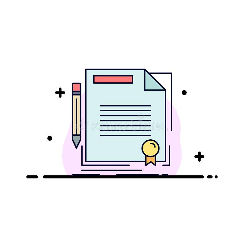 协议,合同,成交,文件,纸平的颜色象传染媒介 向量例证