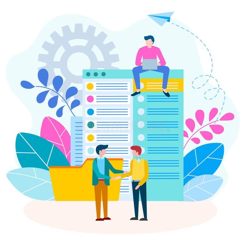 协议,握手,在商人概念之间的合同 文件流和金融交易暂停 向量例证