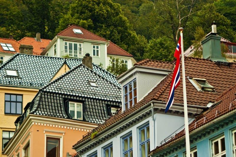 卑尔根安置屋顶 库存图片