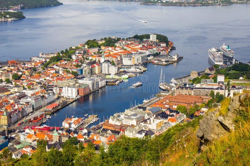 卑尔根市,风景鸟瞰图全景港口都市风景在剧烈的天空下在从登上Floyen玻璃上面的日落夏天  库存图片