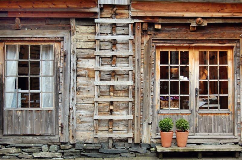 卑尔根房子挪威传统木 免版税库存照片