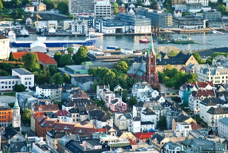 卑尔根挪威全景视图 库存照片