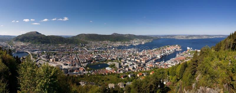 卑尔根挪威全景 免版税图库摄影