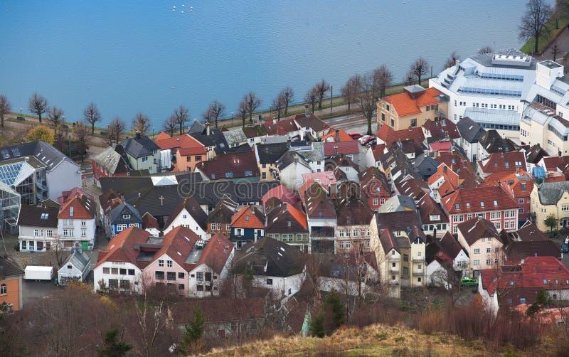 卑尔根挪威 都市风景 鸟瞰图 库存照片