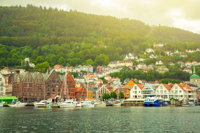 卑尔根,挪威的看法  库存图片