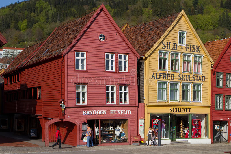 卑尔根bryggen挪威 库存照片