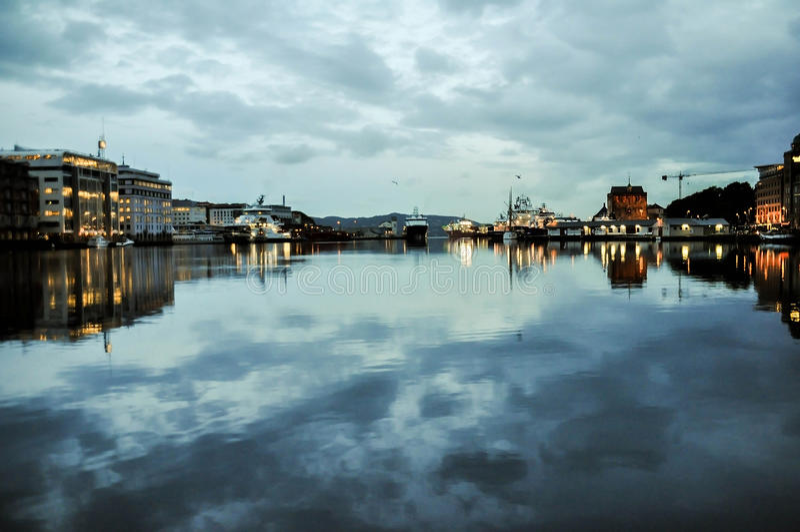 卑尔根Farbour,挪威 免版税库存照片