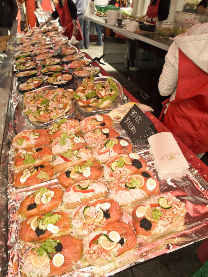 卑尔根fishmarket 免版税库存照片