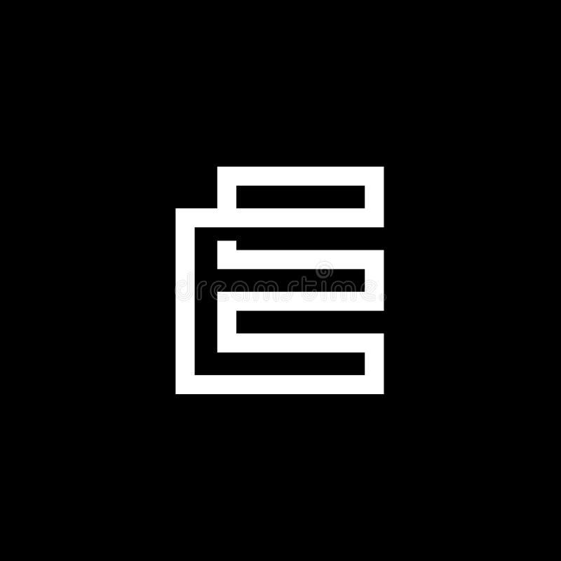 卓著的典雅的现代黑白颜色字母表E最初的基于象商标设计-传染媒介 皇族释放例证