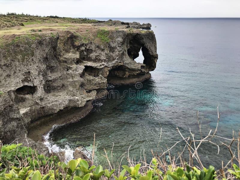 卓著的峭壁和鲜绿色海洋使目炫视图海角的Manzamo在日本 免版税库存图片