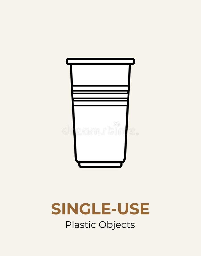 单一用处白色塑料杯子 回收塑料项目的传染媒介例证 一次性塑料杯子 平展被隔绝的透明杯子 皇族释放例证