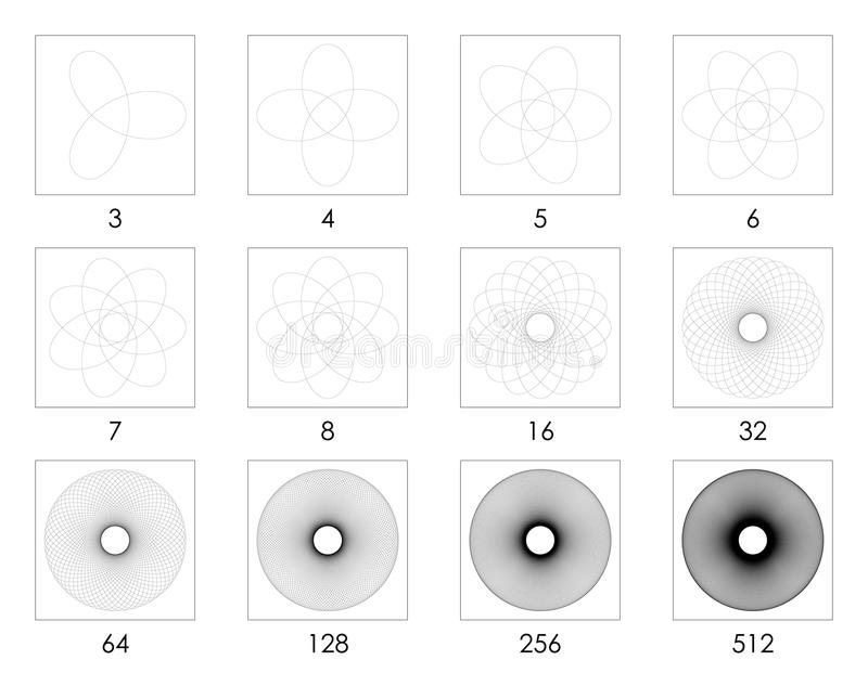 单一被抚摸的扭索状装饰样式3到512叶子 库存图片