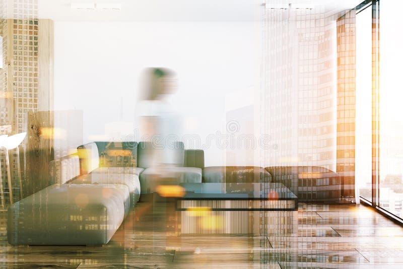 单室公寓的,被定调子的沙发白色客厅 免版税图库摄影