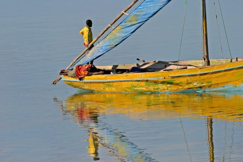 单桅三角帆船莫桑比克 库存照片