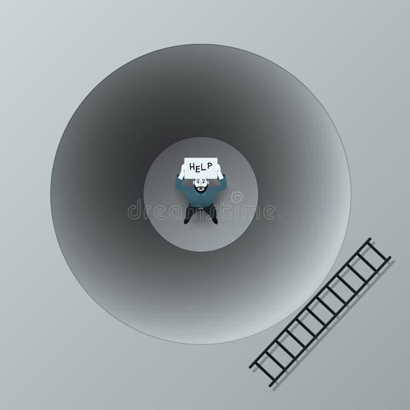 单独一个孤独的生气人一个黑暗的坑的需要帮助 在一张海报的手上在文本'帮助下 '在坑附近梯子 向量 皇族释放例证