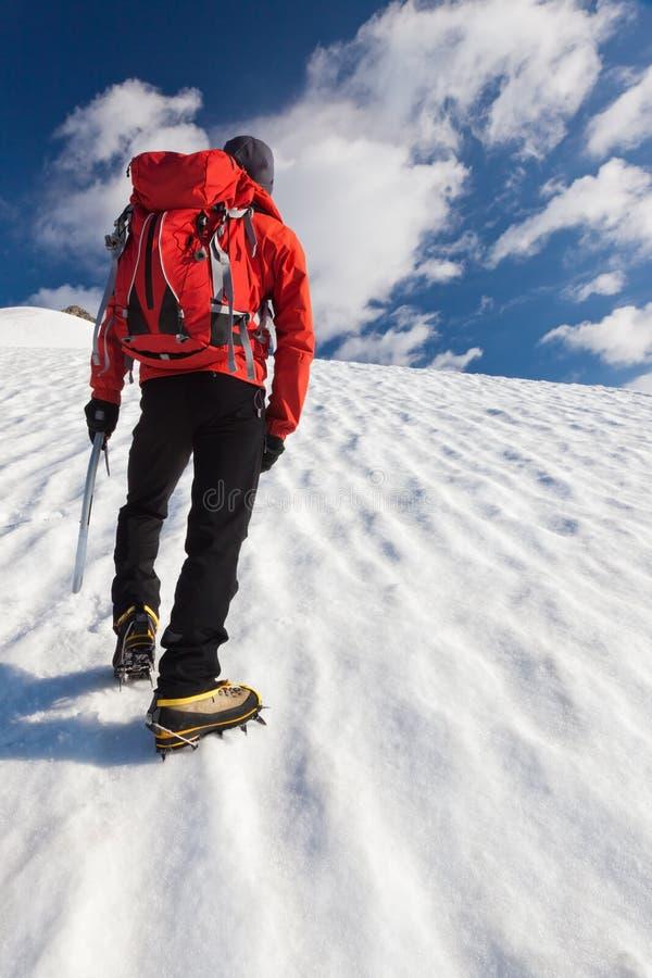 单独冰川登山家 图库摄影