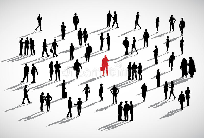 单独商人常设人群企业概念 库存例证