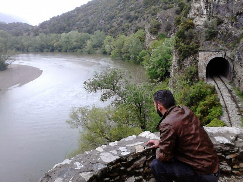 单独在河 图库摄影