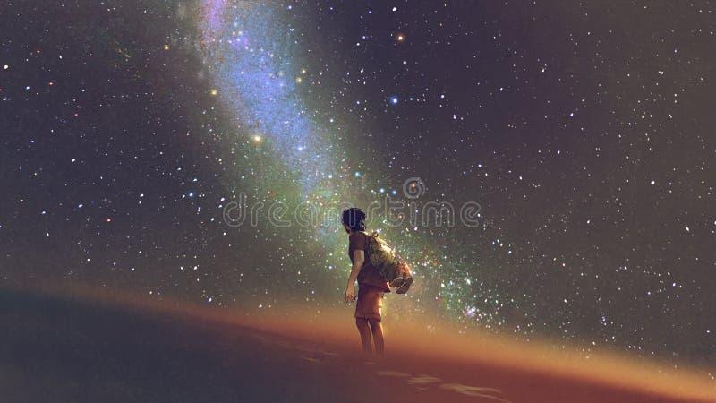 单独在满天星斗的天空下 库存例证