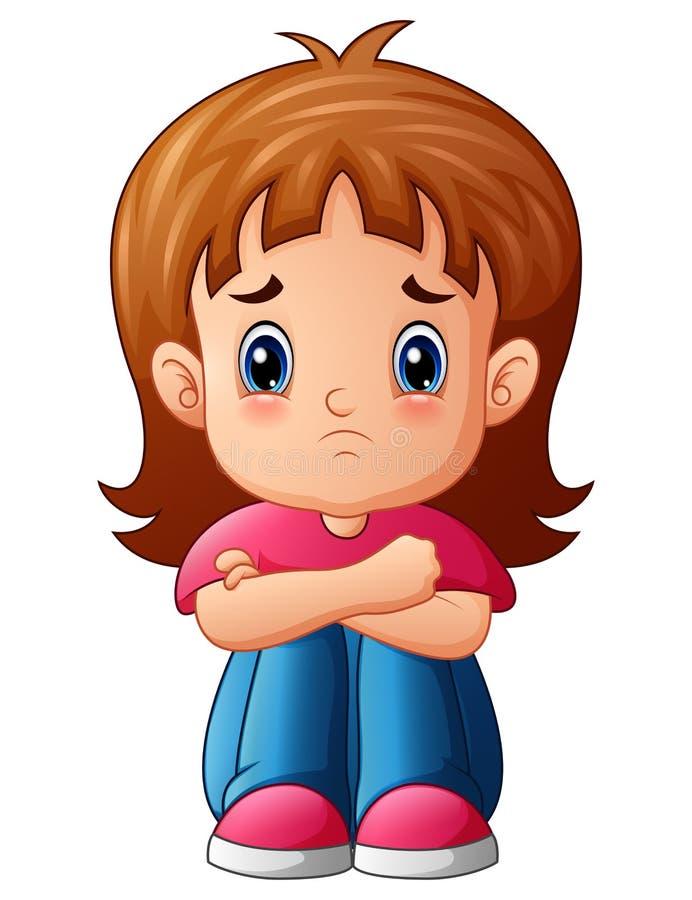 单独坐哀伤的女孩的动画片 向量例证