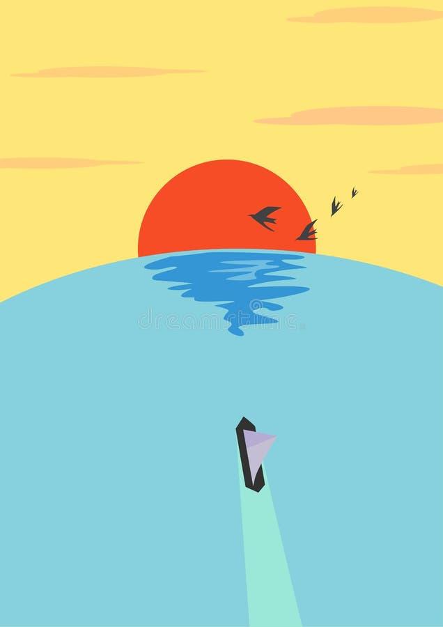单独旅途在日落例证的海洋 免版税图库摄影