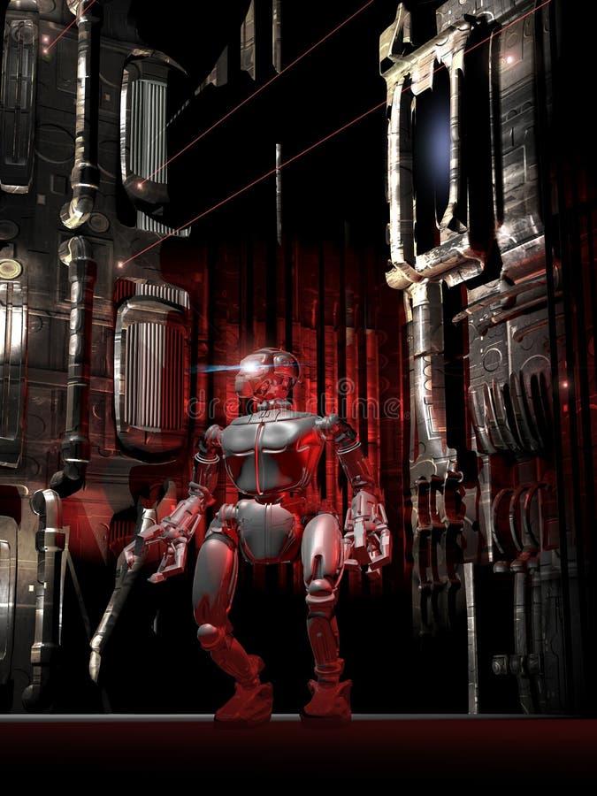 单独机器人在走廊 向量例证