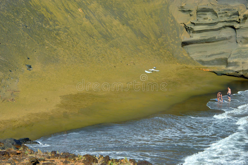 单独海滩绿色沙子 免版税库存照片