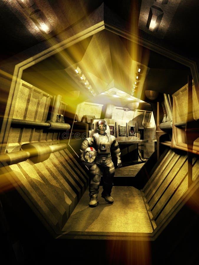 单独由太空飞船的走廊 向量例证
