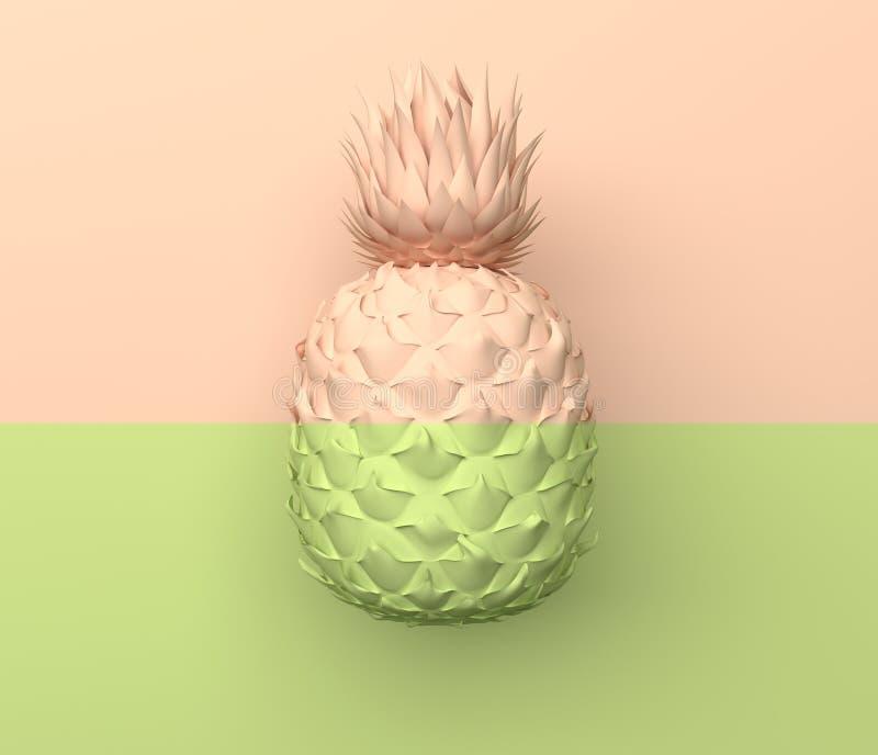 单独菠萝在一半浅绿色和米黄颜色水平地被划分 在淡色的例证 热带异乎寻常的果子 库存例证