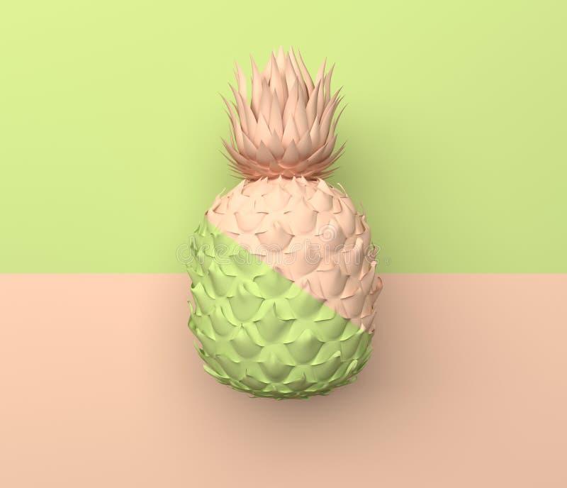 单独菠萝在一半浅绿色和米黄颜色水平地被划分 在淡色的例证 热带异乎寻常的果子 皇族释放例证