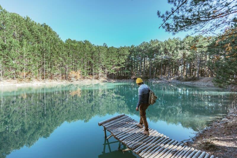 单独走到蓝色湖的人旅客在森林 库存照片