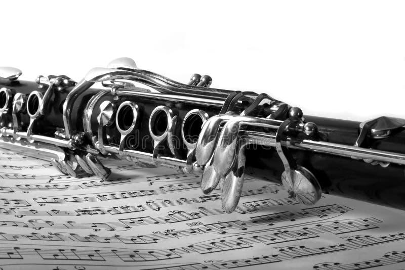 单簧管音乐纸张 图库摄影