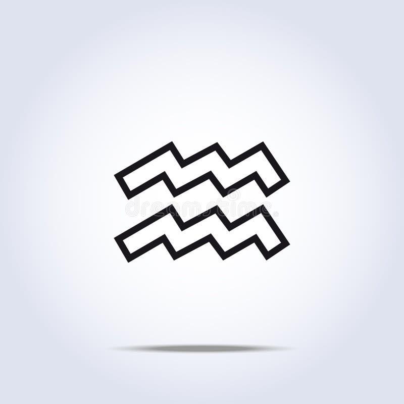 单纯化的宝瓶星座黄道带星标志 库存例证