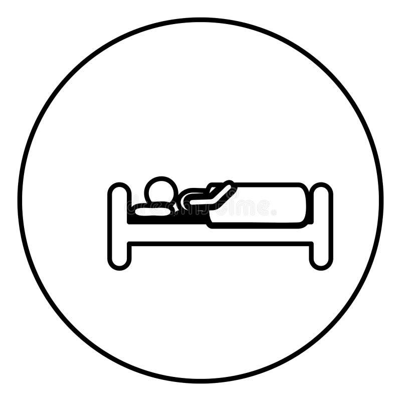 单色与人的等高圆框架在床上 库存例证